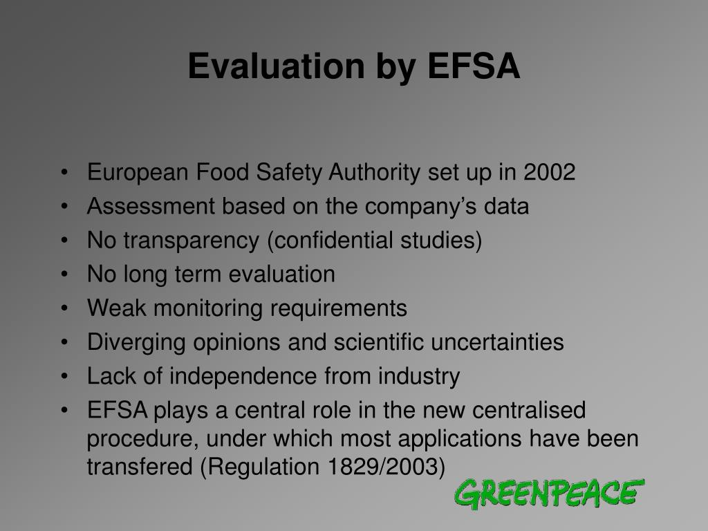 Evaluation by EFSA