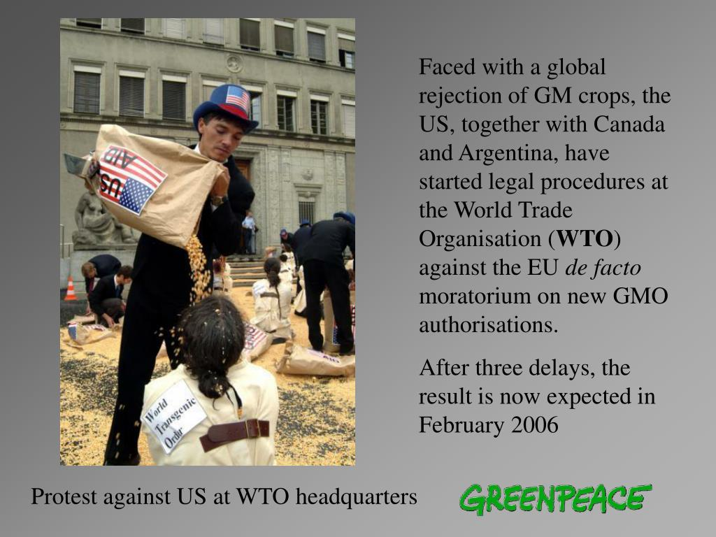 Faced with a global rejection of GM crops, the US, together with Canada and Argentina, have started legal procedures at the World Trade Organisation (
