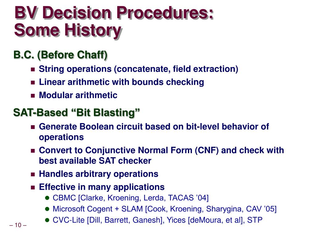 BV Decision Procedures:
