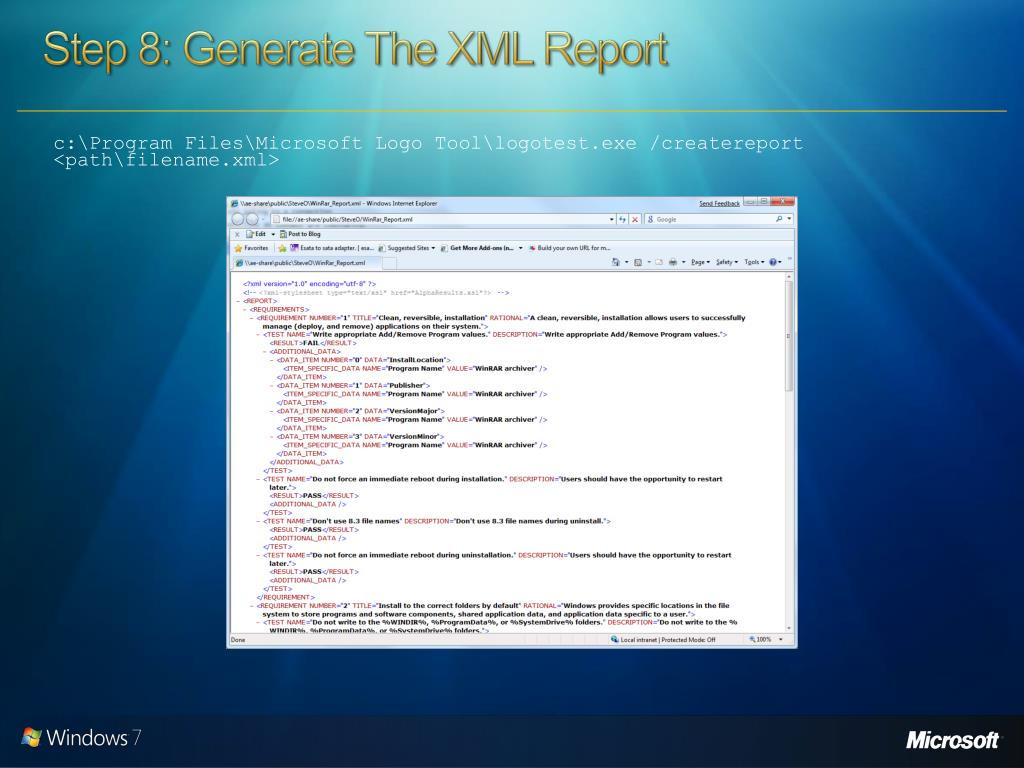 Step 8: Generate The XML Report