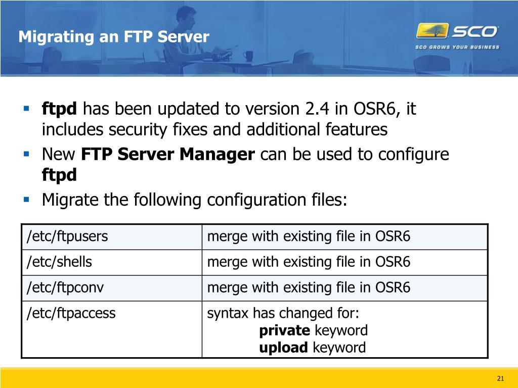 Migrating an FTP Server