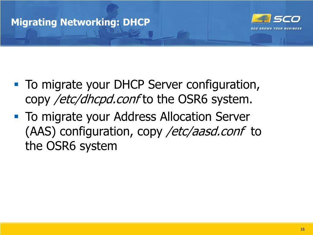 Migrating Networking: DHCP
