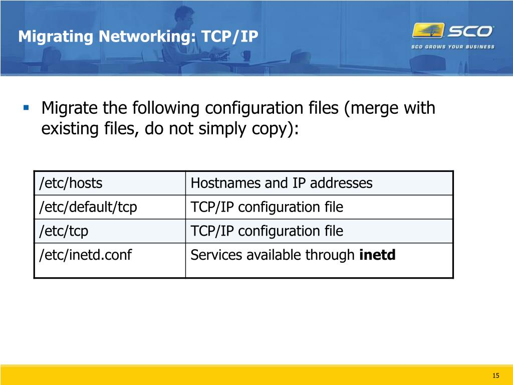 Migrating Networking: TCP/IP