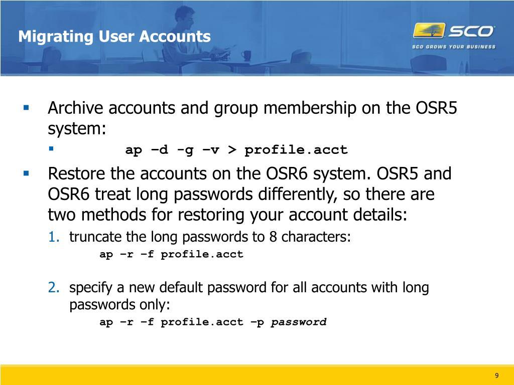 Migrating User Accounts