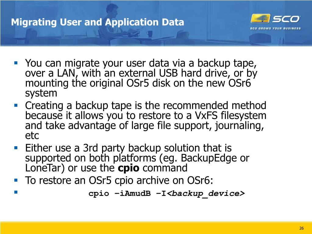 Migrating User and Application Data