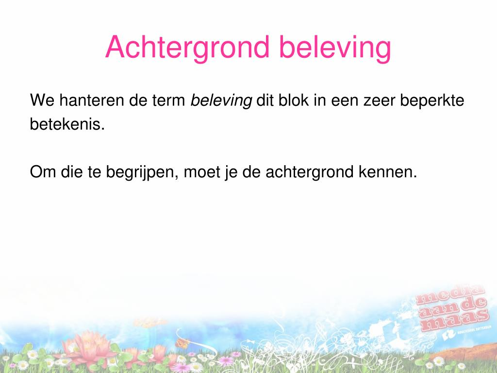Achtergrond beleving