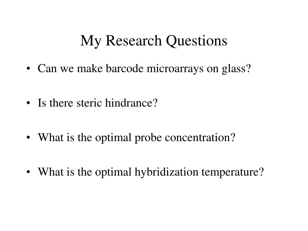 My Research Questions