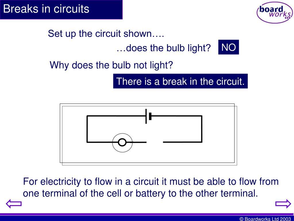 Breaks in circuits