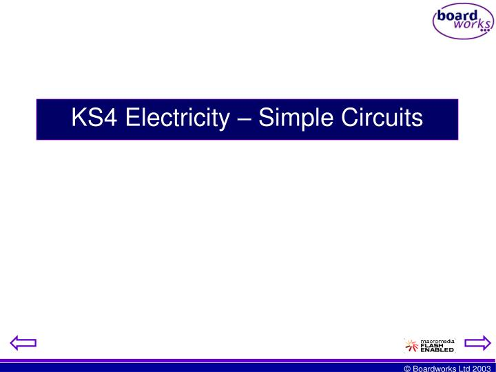 Ks4 electricity simple circuits