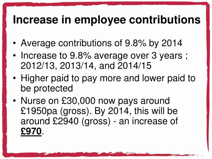 Increase in employee contributions