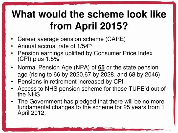 What would the scheme look like from april 2015