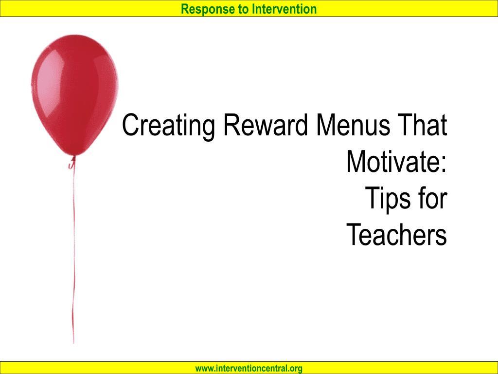 creating reward menus that motivate tips for teachers l.