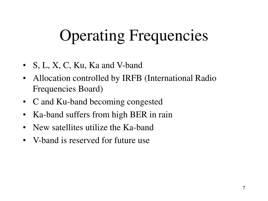 Operating Frequencies