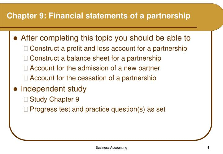 Chapter 9 financial statements of a partnership