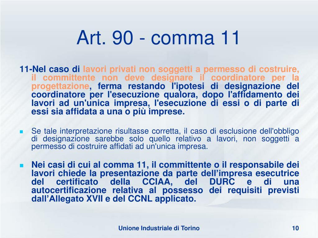 Art. 90 - comma 11
