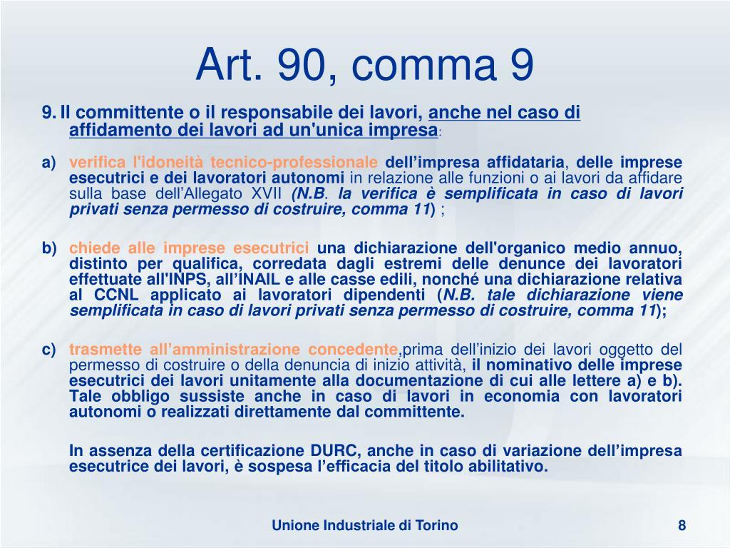 Art. 90, comma 9