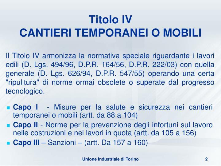 Titolo iv cantieri temporanei o mobili