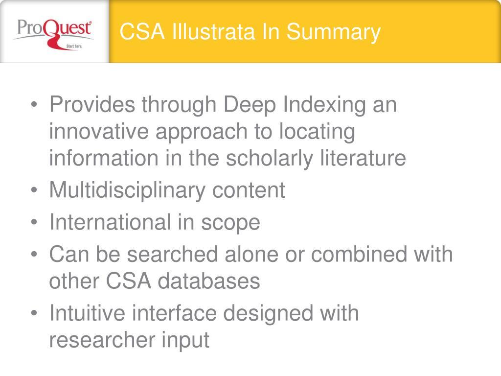 CSA Illustrata In Summary