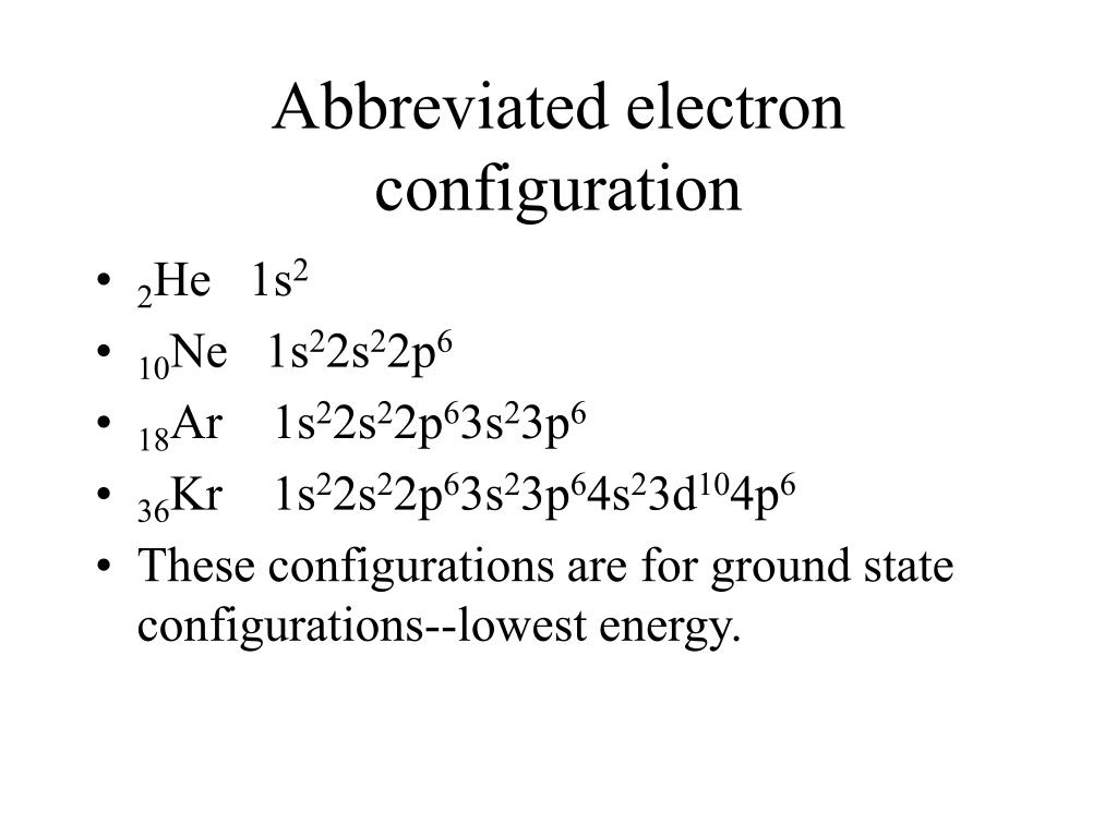 Abbreviated electron configuration