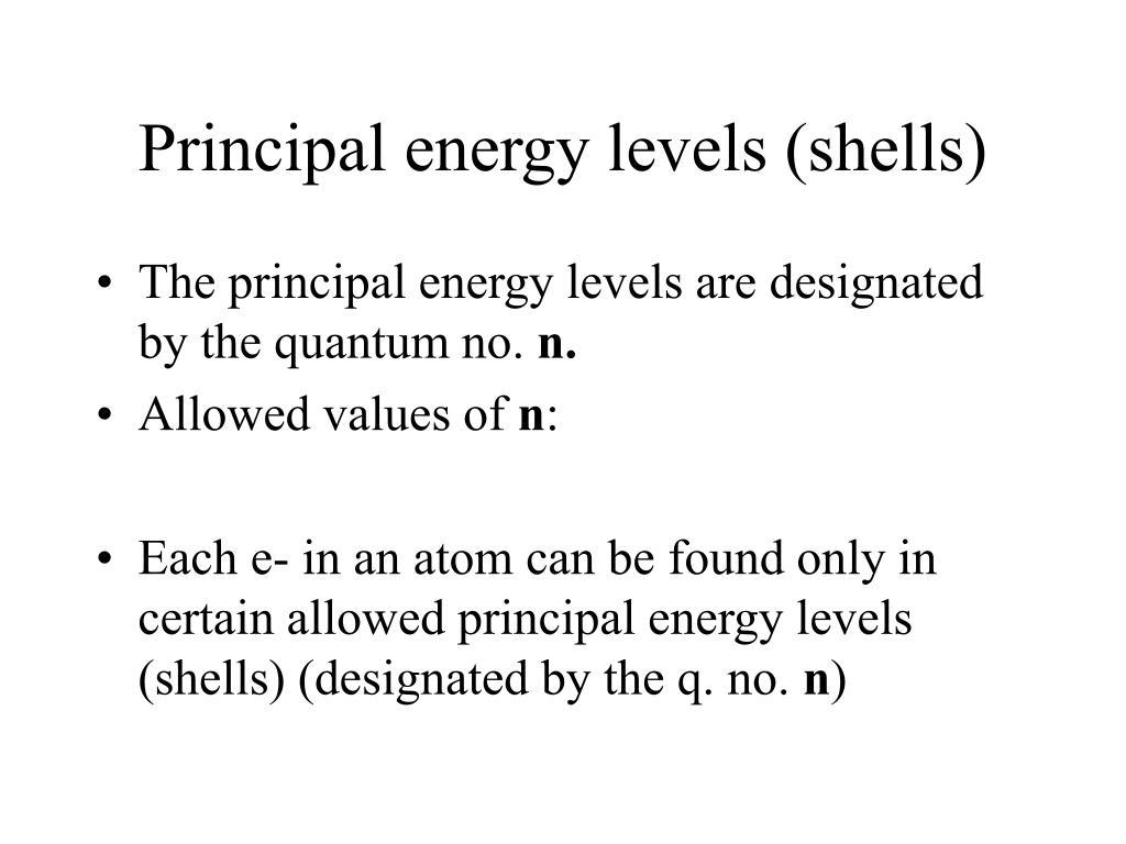 Principal energy levels (shells)