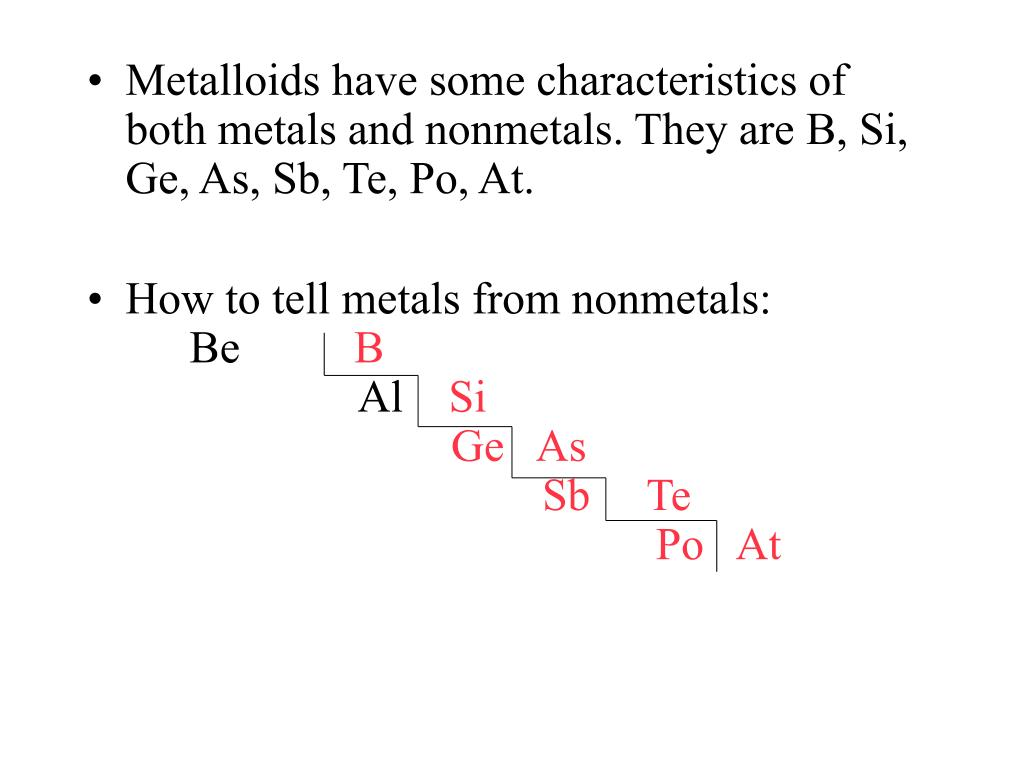 Metalloids have some characteristics of both metals and nonmetals. They are B, Si, Ge, As, Sb, Te, Po, At.