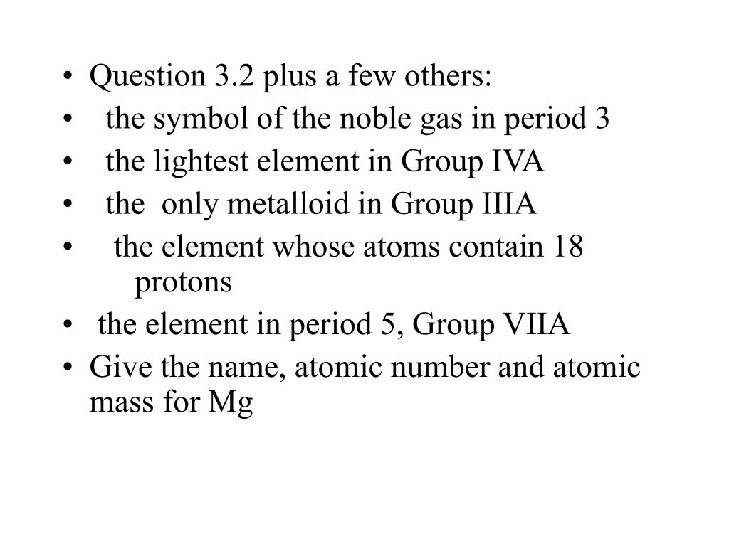 Question 3.2 plus a few others: