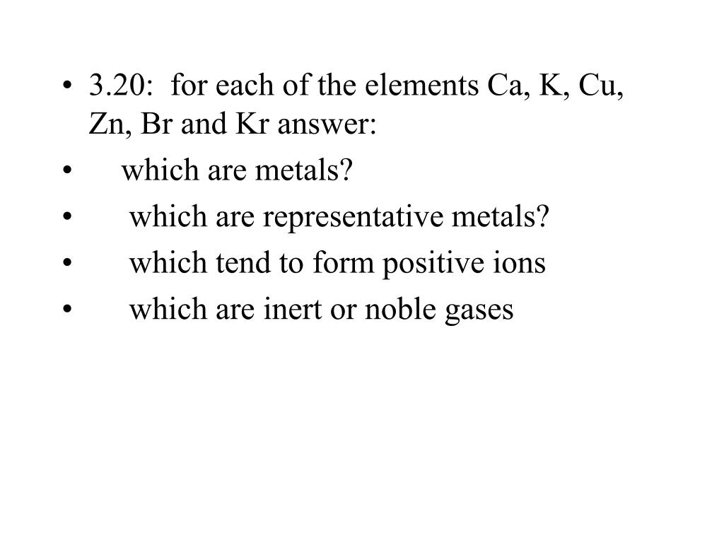 3.20:  for each of the elements Ca, K, Cu, Zn, Br and Kr answer: