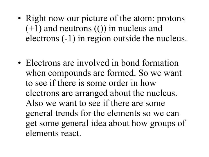Right now our picture of the atom: protons (+1) and neutrons (()) in nucleus and electrons (-1) in r...
