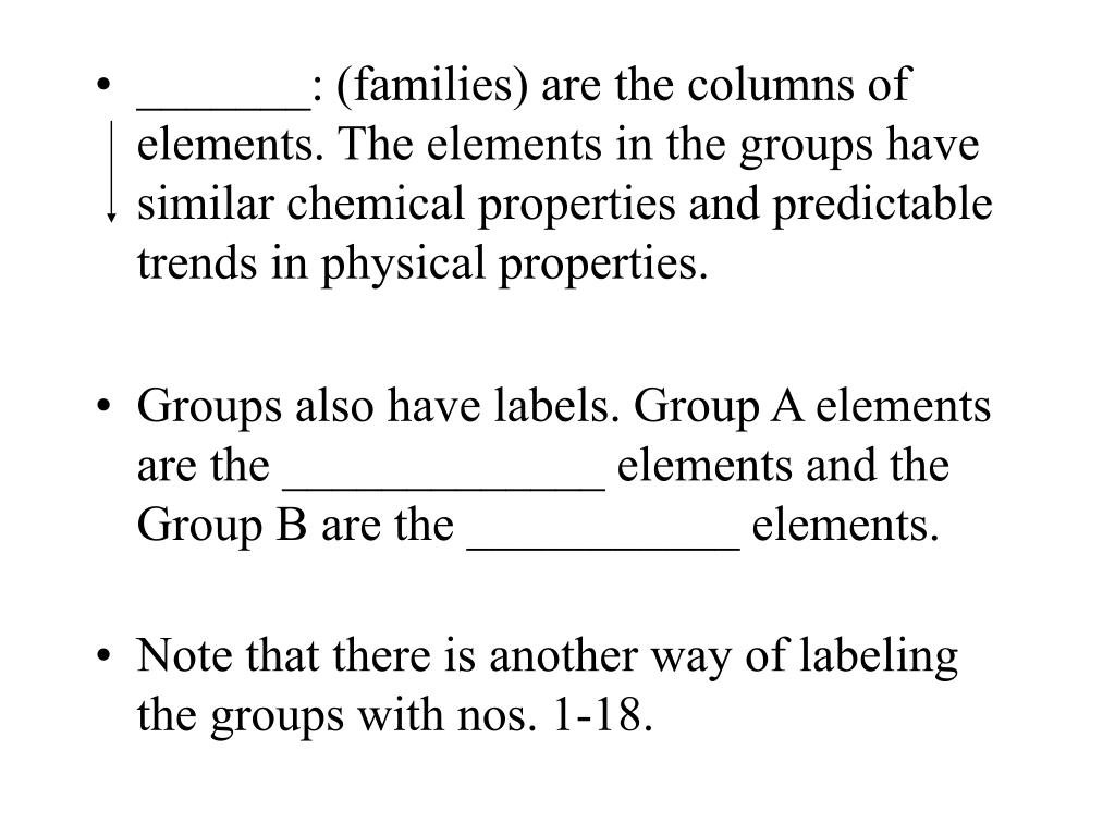 _______: (families) are the columns of elements. The elements in the groups have similar chemical properties and predictable trends in physical properties.