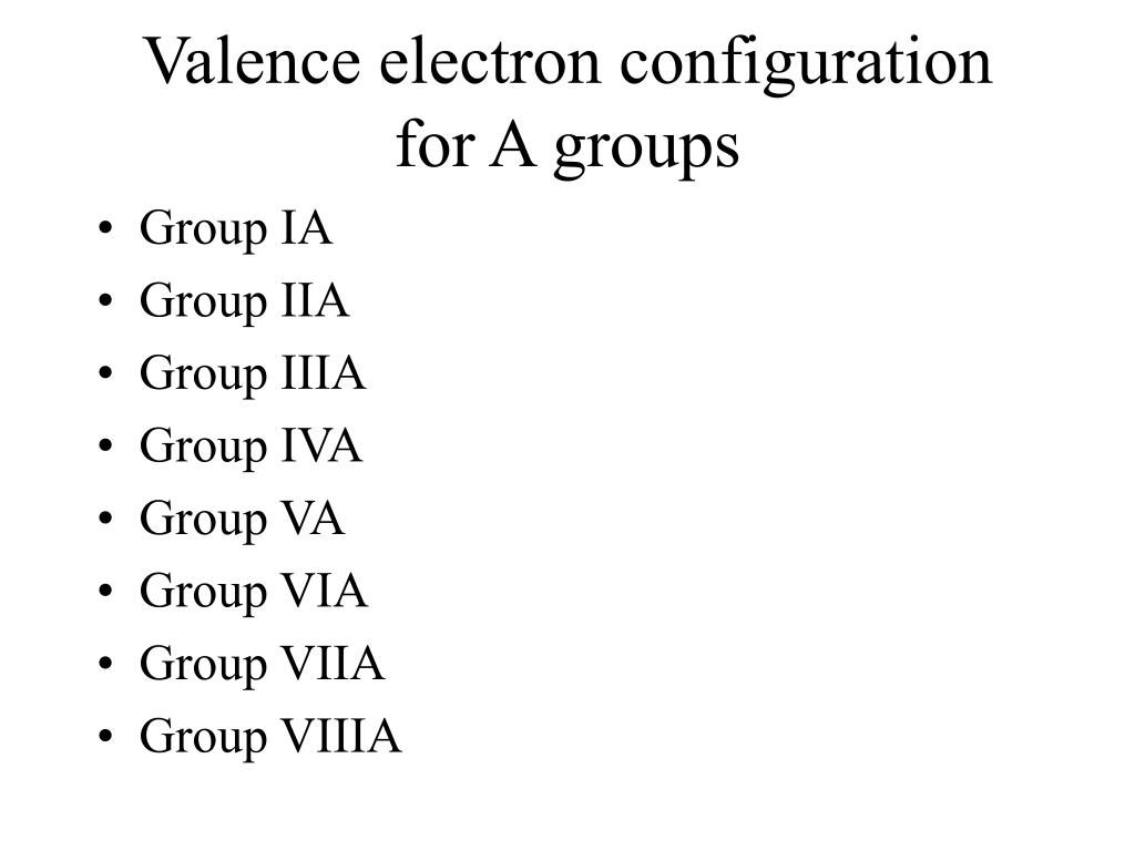 Valence electron configuration for A groups