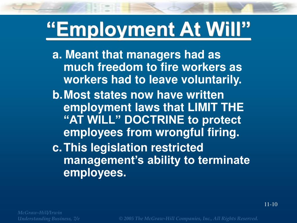 """""""Employment At Will"""""""