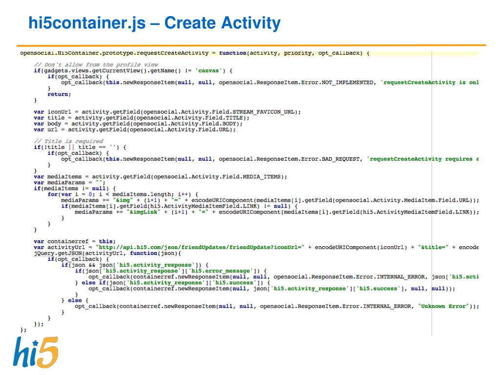 hi5container.js – Create Activity