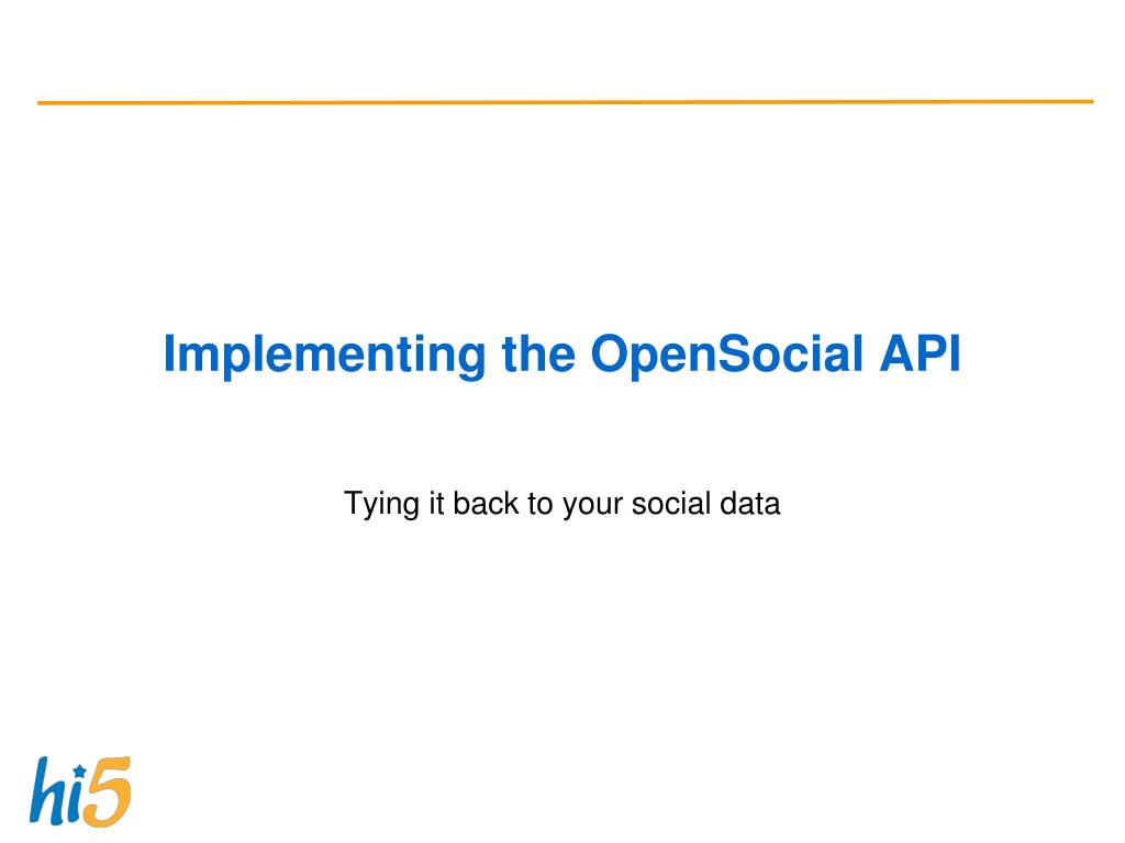 Implementing the OpenSocial API