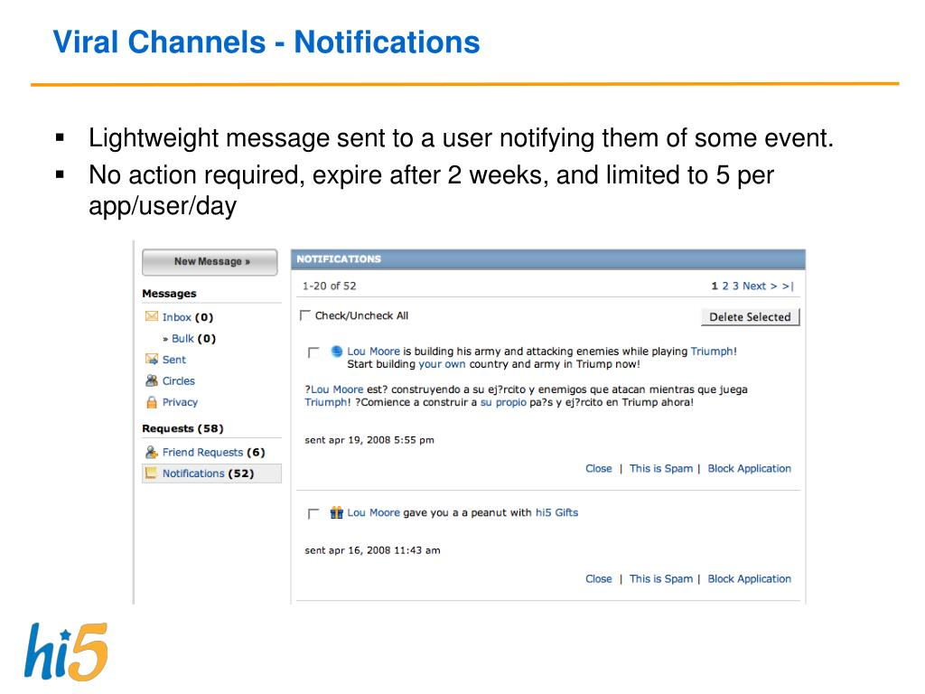 Viral Channels - Notifications