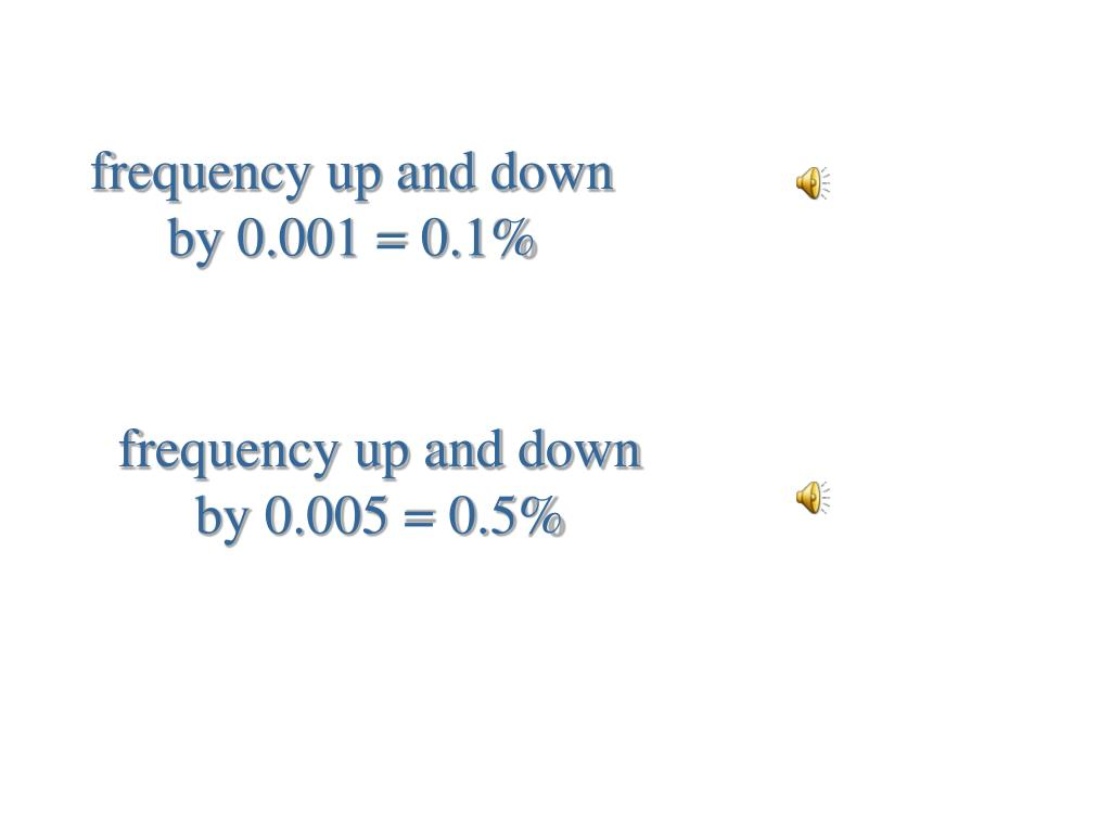 frequency up and down by 0.001 = 0.1%