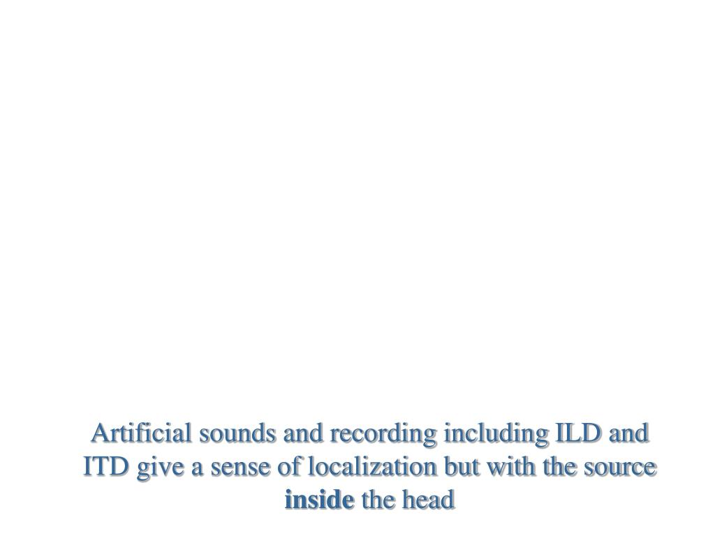 Artificial sounds and recording including ILD and ITD give a sense of localization but with the source