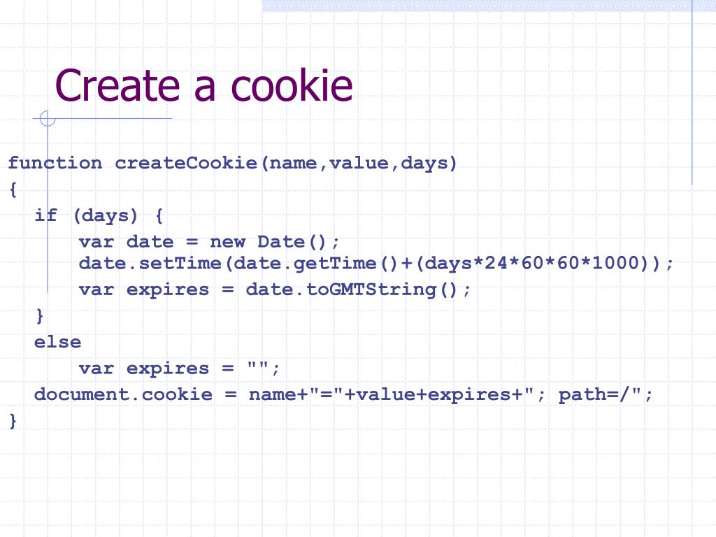 Create a cookie