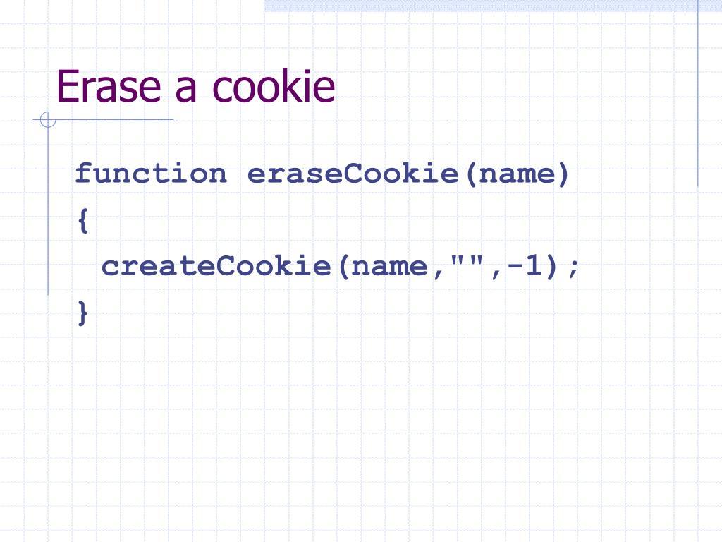 Erase a cookie