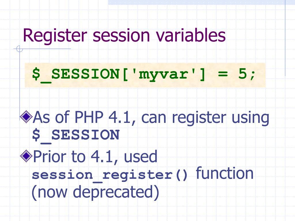 Register session variables