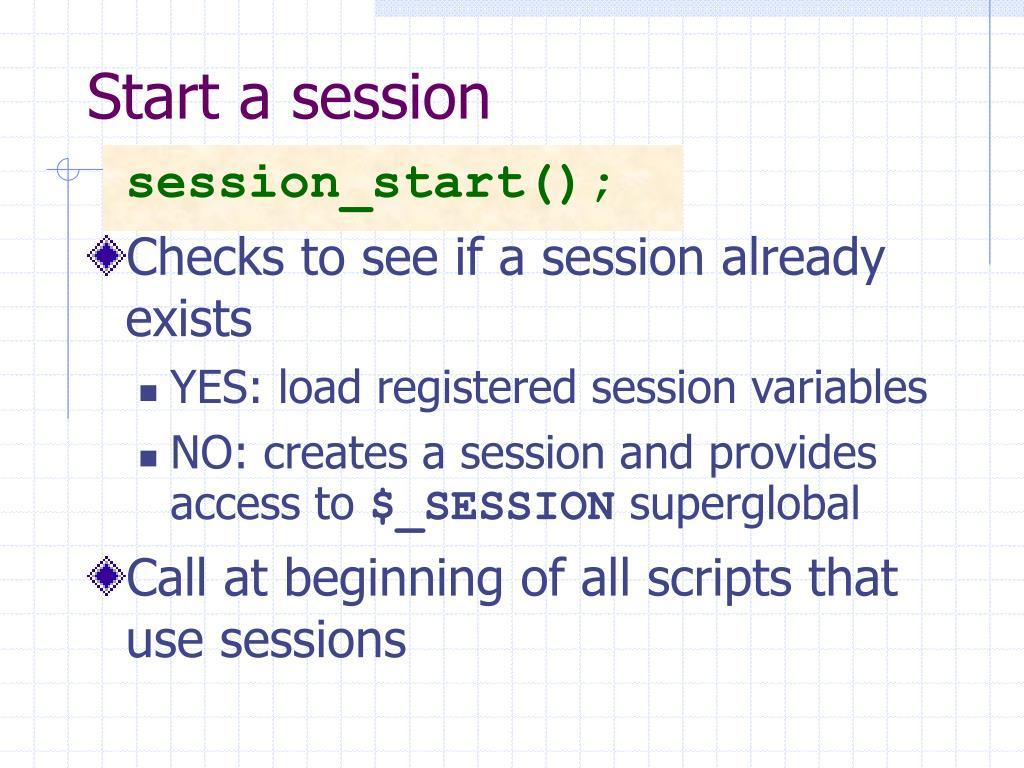 Start a session