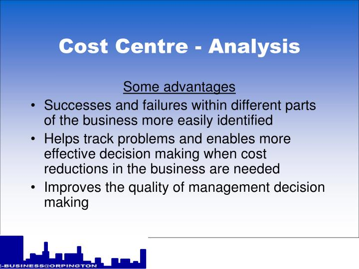 Cost centre analysis