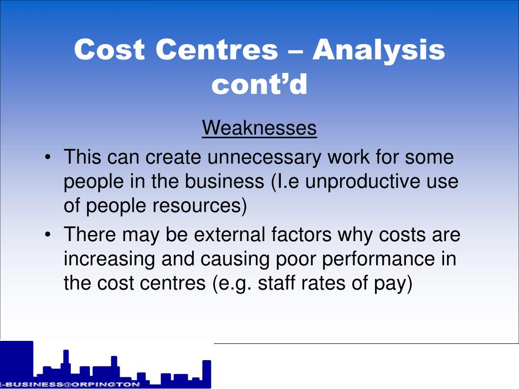 Cost Centres – Analysis cont'd
