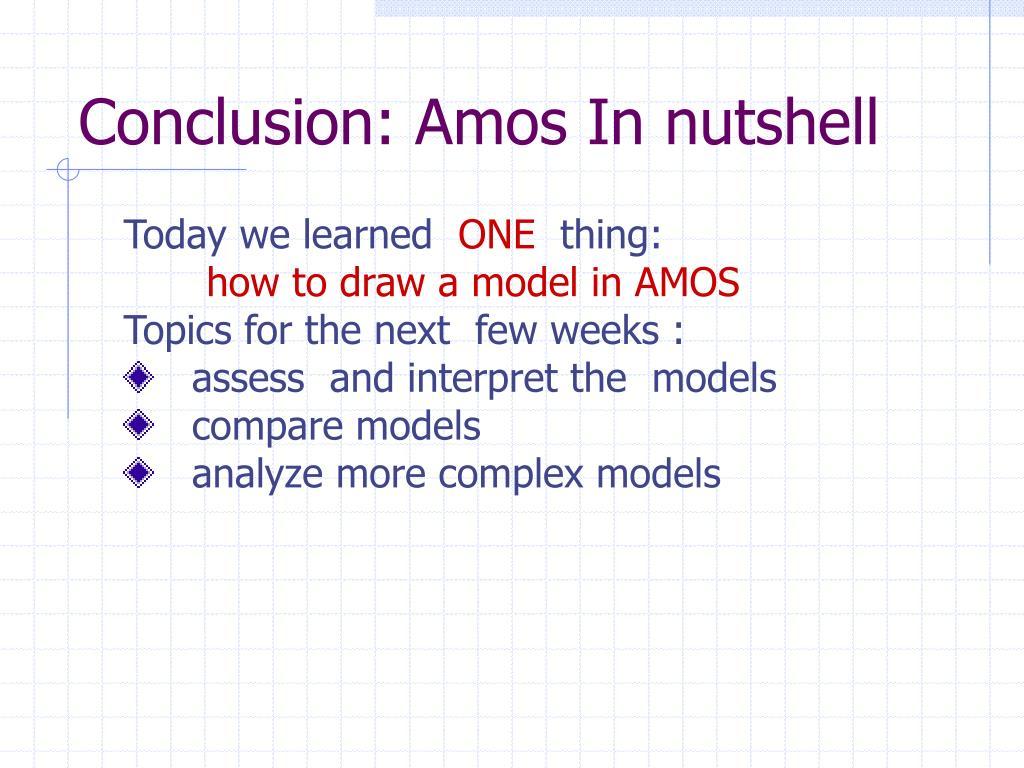 Conclusion: Amos In nutshell
