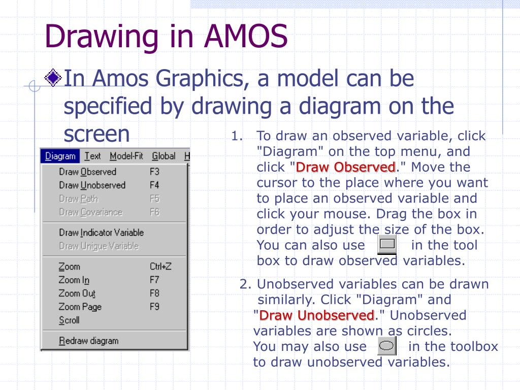 """To draw an observed variable, click """"Diagram"""" on the top menu, and click """""""