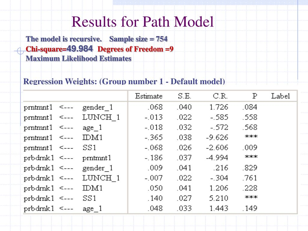 Results for Path Model