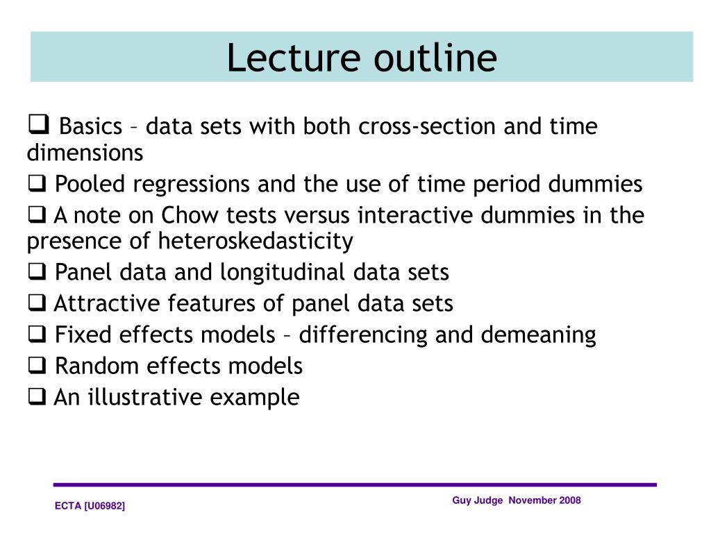 Basics – data sets with both cross-section and time dimensions