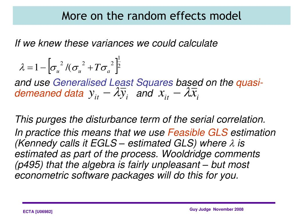 More on the random effects model