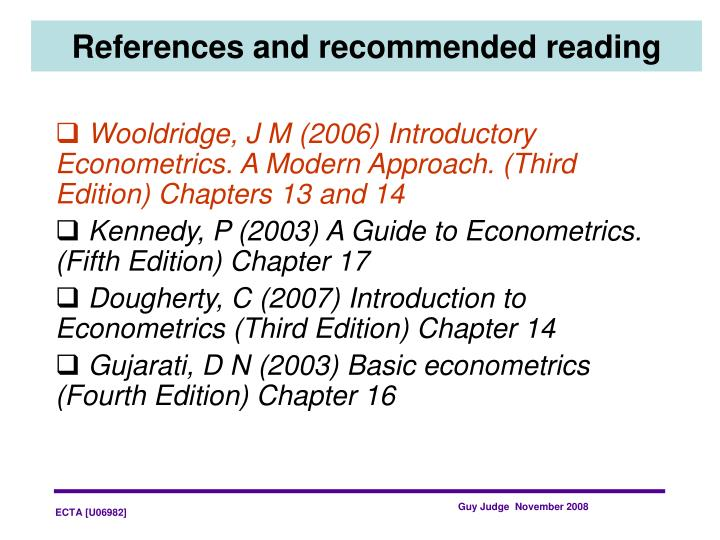 References and recommended reading