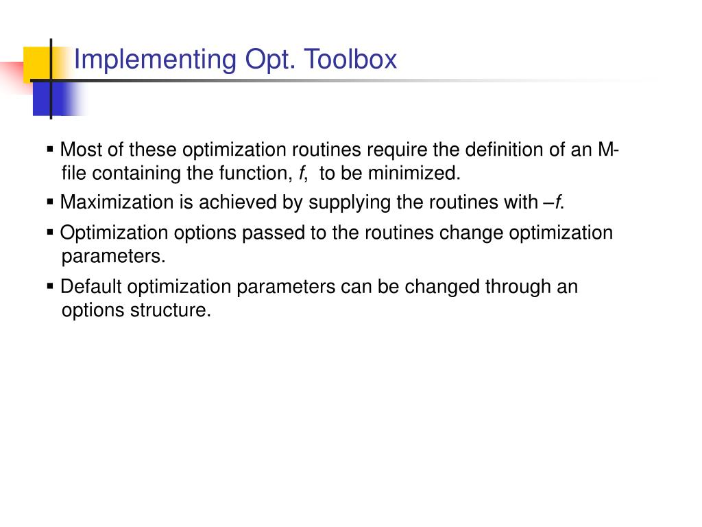 Implementing Opt. Toolbox