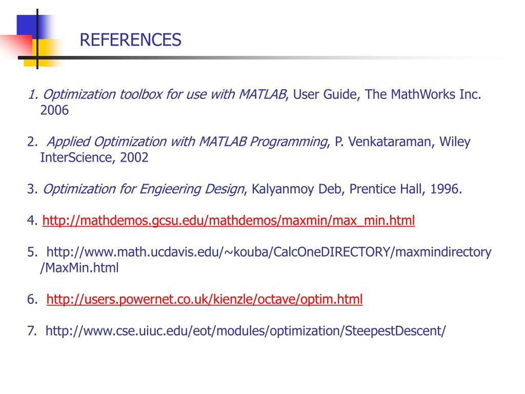 Optimization toolbox for use with MATLAB